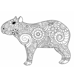 Capybara coloring for adults vector