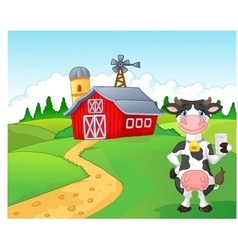 Cartoon cow holding a glass of milk with farm back vector image