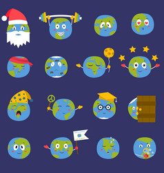 Cartoon globe earth emojji smile face character vector