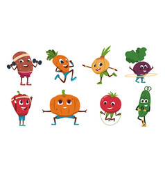 cartoon vegetables exercises healthy food vector image