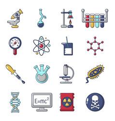 chemistry laboratory icons set cartoon style vector image