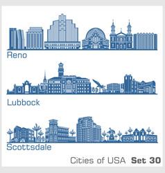 cities usa - reno lubbock scottsdale vector image
