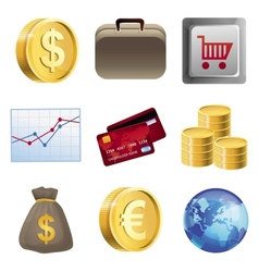 Collection with bright finance icons vector image