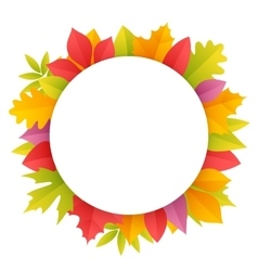 Colorful Autumn Leaves Round Frame vector