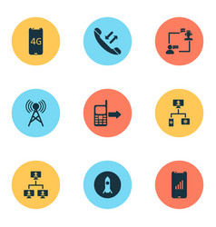 communication icons set with call back fast wifi vector image