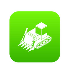 construction bulldozer icon green vector image