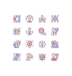 Core values rgb color icons set vector