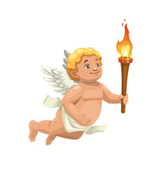 Cupid character with torch valentines day angel vector