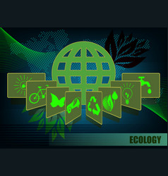 Dark green background with ecology symbols vector