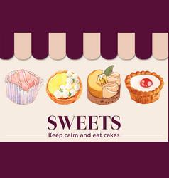 Dessert frame design with cupcake cookie tart vector