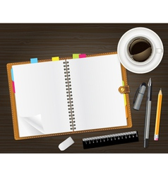 Diary on table vector
