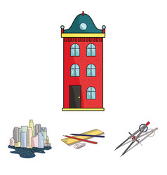 drawing accessories metropolis house model vector image