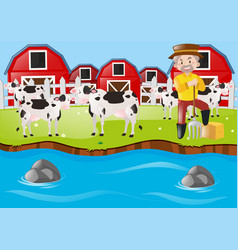 Farmer and cows on the farmyard vector
