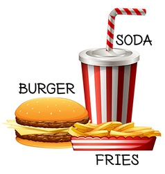 Fastfood set with burger and fries vector
