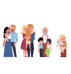 Flat family characters hugging set vector