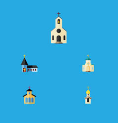 Flat icon building set of christian structure vector