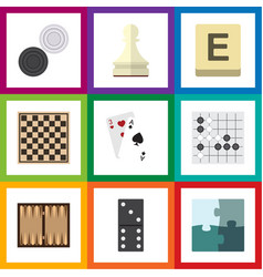 Flat icon play set of dice jigsaw chequer and vector