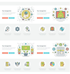 Flat line business concepts set vector