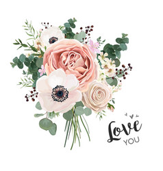 flower bouquet floral bunch boho design object vector image