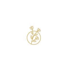 Flower line decorative plant logo vector