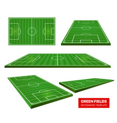 football green fields collection isolated on vector image