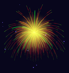 golden green red fireworks holidays background vector image