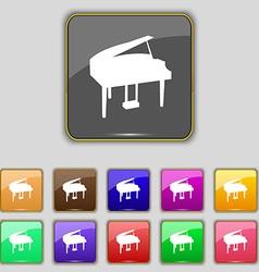 Grand piano icon sign Set with eleven colored vector