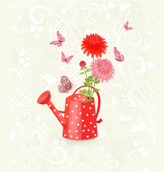 Grunge background with lovely chrysanthemums in a vector