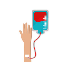 hand donating blood to help people vector image