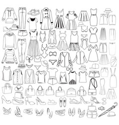 hand drawn big collection of woman clothes and vector image