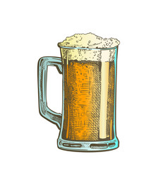 hand drawn mug color froth bubble beer drink vector image