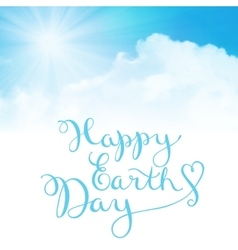 Happy earth day handmade calligraphy vector