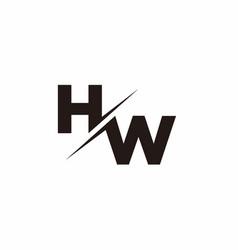 hw logo letter monogram slash with modern logo vector image