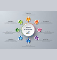 infographic design element with 8 process choices vector image