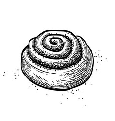 Ink sketch cinnamon roll vector