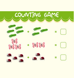 insect math counting worksheet vector image