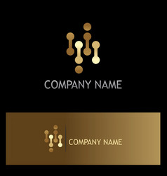 line dot technology gold logo vector image