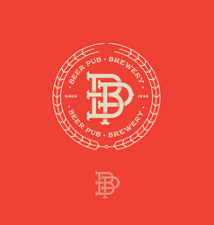 Logo pub beautiful beer emblem b and p vector