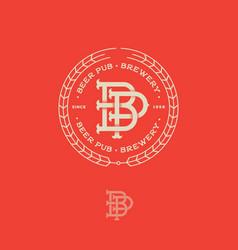 logo pub beautiful beer emblem b and p vector image