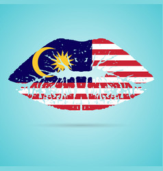 Malaysia flag lipstick on the lips isolated on a vector