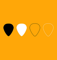 Mediator for guitar black and white set icon vector