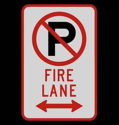 no parking fire lane double arrow sign vector image