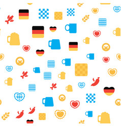 Oktoberfest seamless pattern with drink and food vector