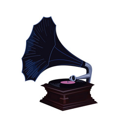 old gramophone - vintage phonograph vector image