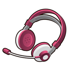 pink headphones with microphone isolated on white vector image
