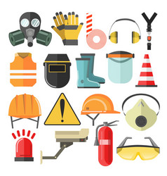 protective gear and equipment mask and helmet vector image