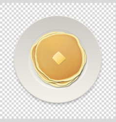 Realistic pancakes with a piece of butter on a vector
