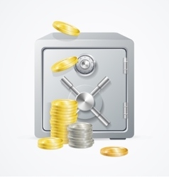 Safe and Money Different Coins vector image vector image