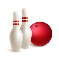 Scattered skittle and bowling ball vector image vector image