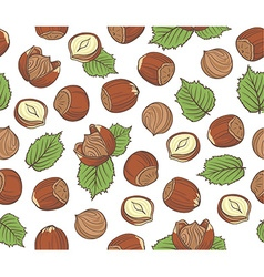 seamless pattern with hand drawn hazelnuts vector image